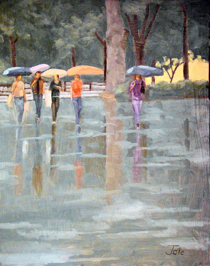 Impressionist Painting - A stroll in the rain by Tate Hamilton