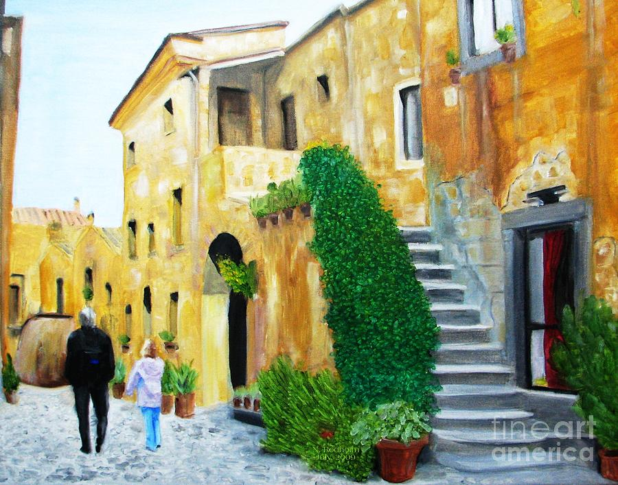 Italy Painting - A Stroll With Papa In Italy by Nathan Rodholm