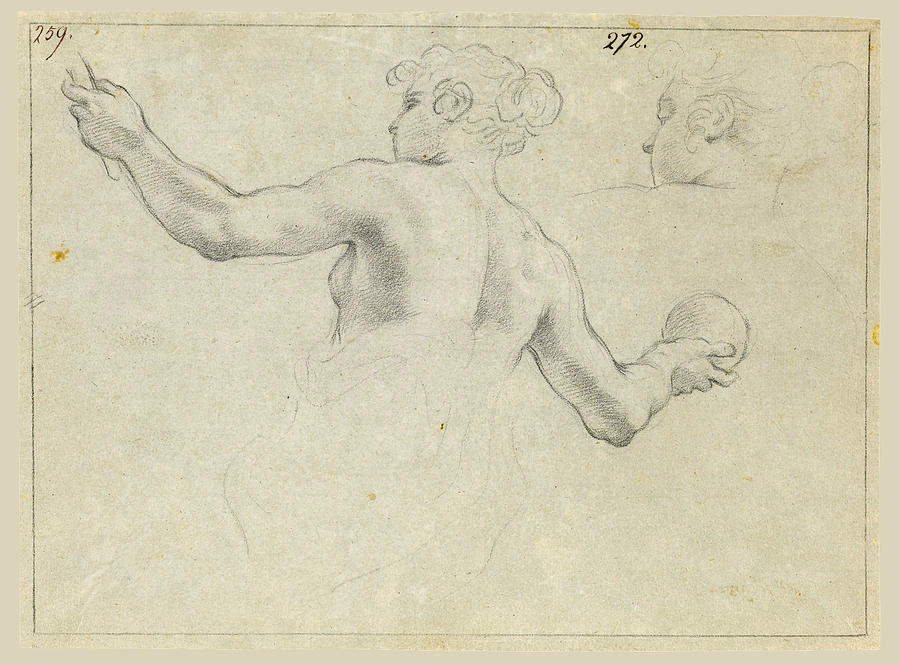 Canvas Prints Drawing - A Study For A Female Allegorical Figure And A Separate Study For Her Head by Antonio Domenico Gabbiani