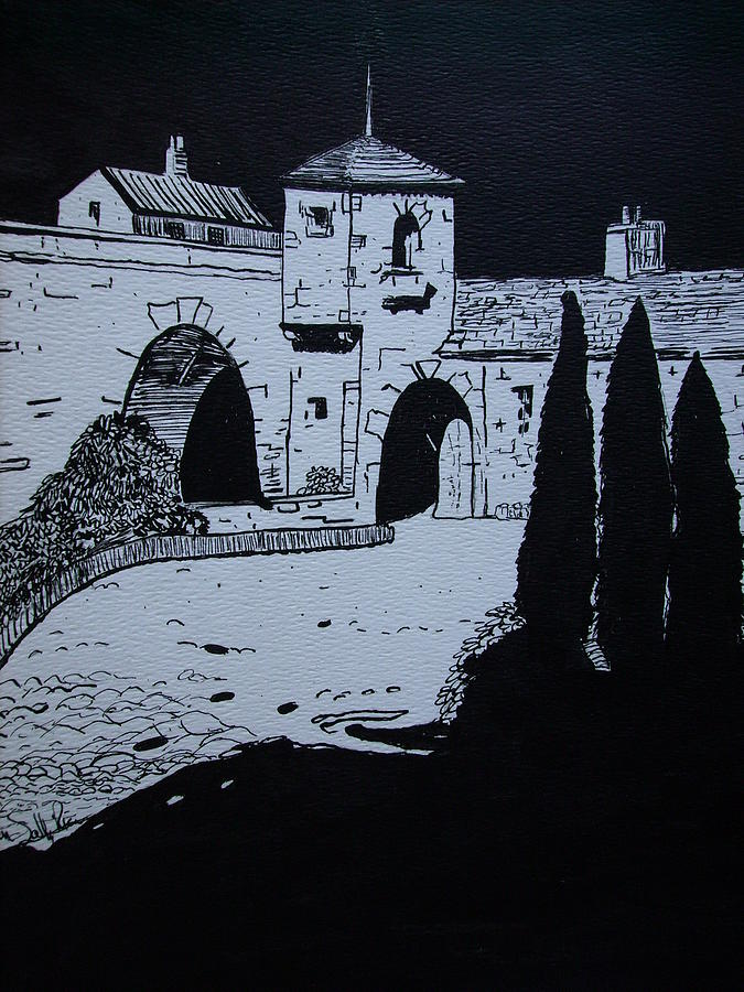 Landscape Drawing - A Study Of A Mission In Black by Karen Salley-Rice