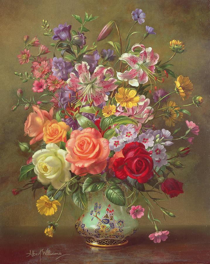 Still Life Painting - A Summer Floral Arrangement by Albert Williams