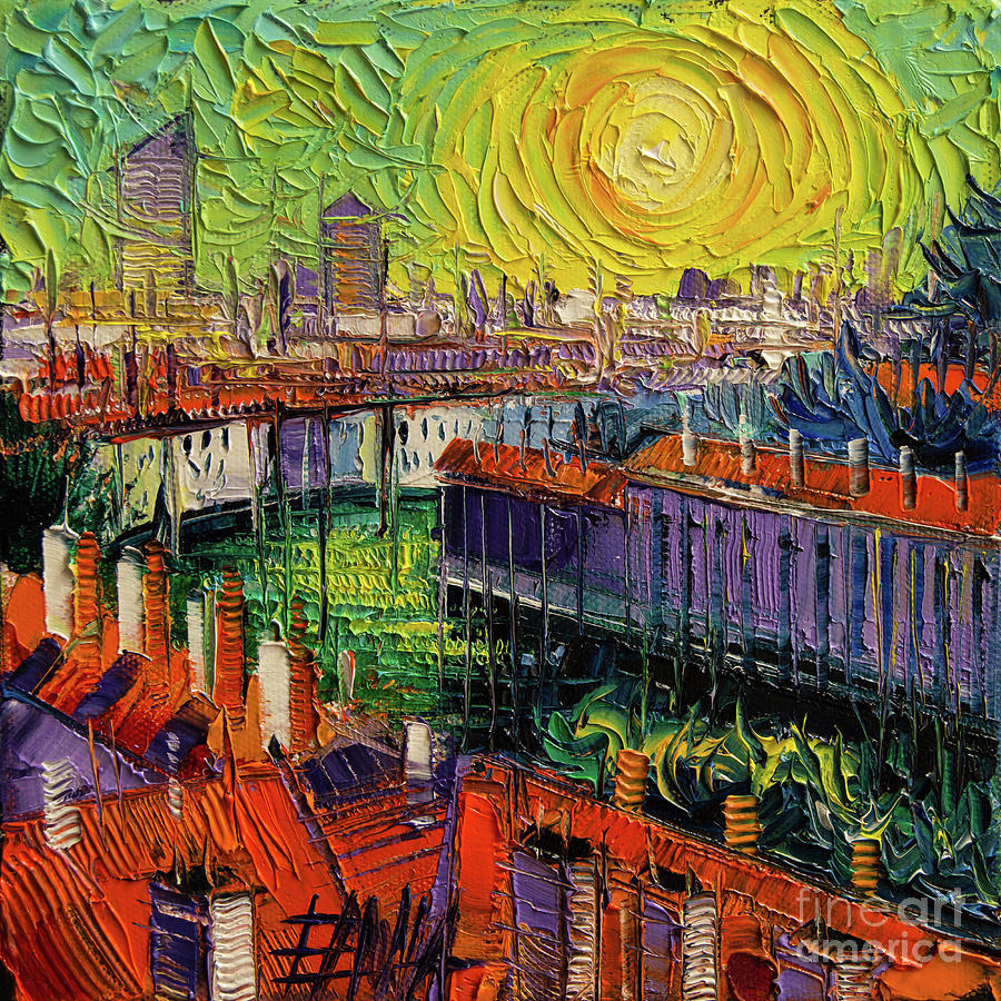 Contemporary Painting - A Summer In Lyon - Modern Impressionist Stylized Cityscape by Mona Edulesco