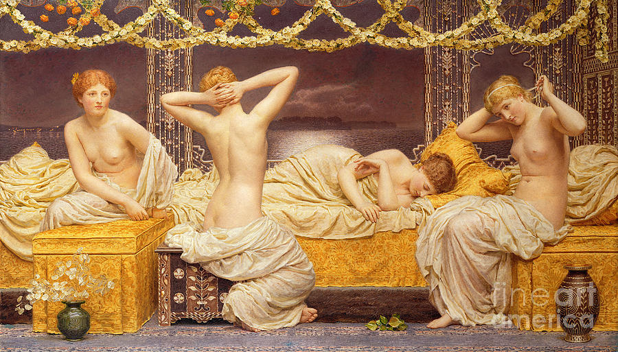 Nudes Painting - A Summer Night by Albert Joseph Moore