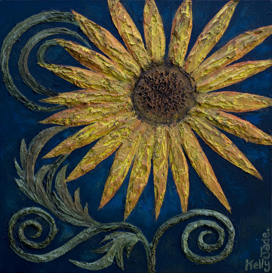 Sunflower Painting - A Sunflower by Kelly Jade King
