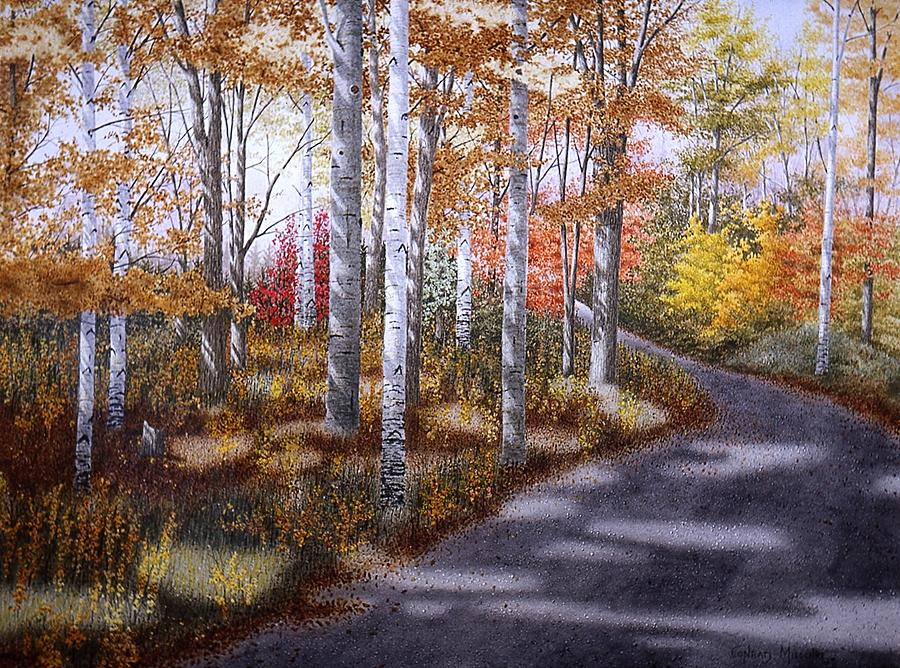 Country Road Painting - A Sunny Autumn Day by Conrad Mieschke
