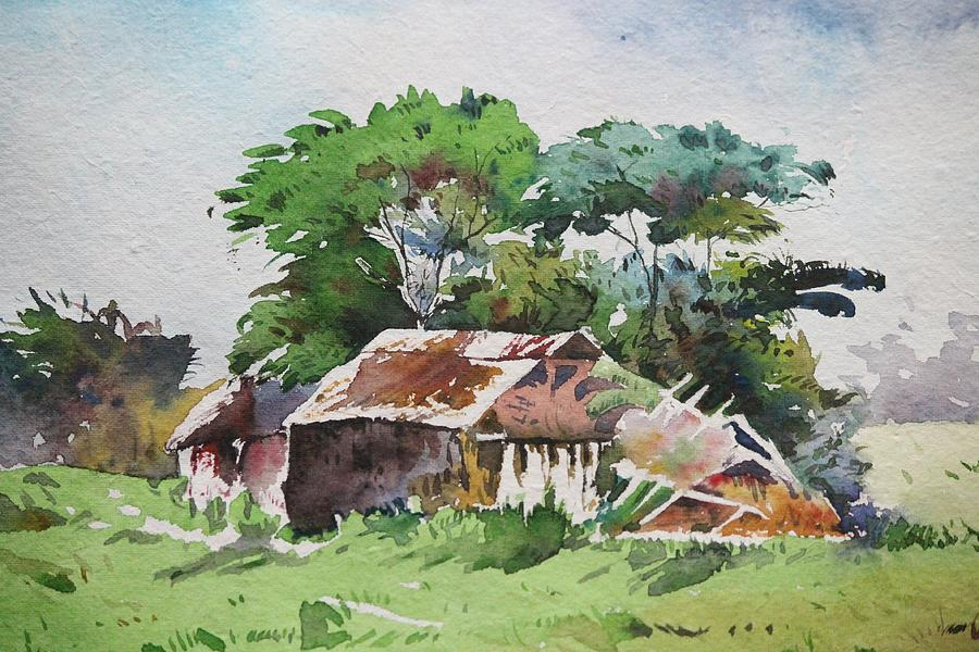 Huts Painting - A Sunny Day by Vishesh Galhotra