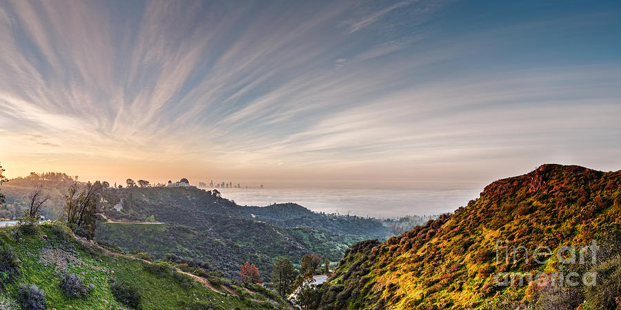 Downtown Photograph - A Sunrise View Of The Griffith Observatory And Downtown Los Angeles From The Hollywood Hills - Cali by Silvio Ligutti
