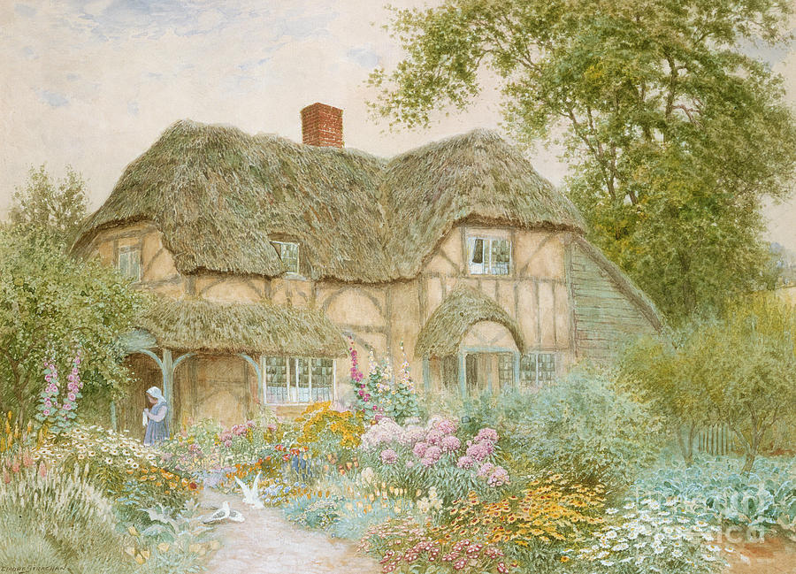 Cottage Painting - A Surrey Cottage by Arthur Claude Strachan