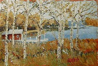 Lake Painting - A Swedish Dreamhouse by Jan Rapp