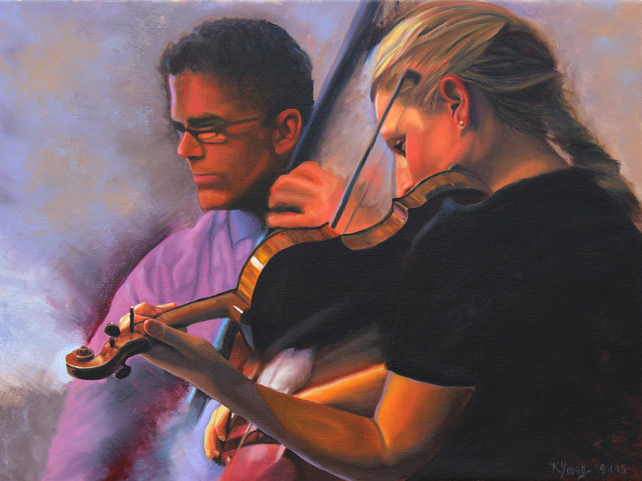 Music Painting - A Tale Of Two Musicians by Kenneth Young