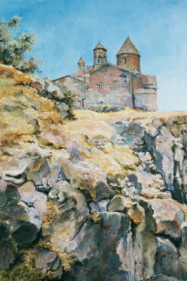 Armenia Painting - A Temple On The Rock by Tigran Ghulyan