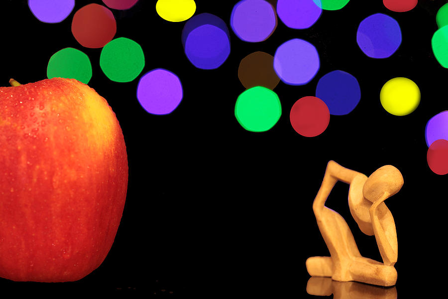 Apple Photograph - A Thinker In Starry Night by Paul Ge