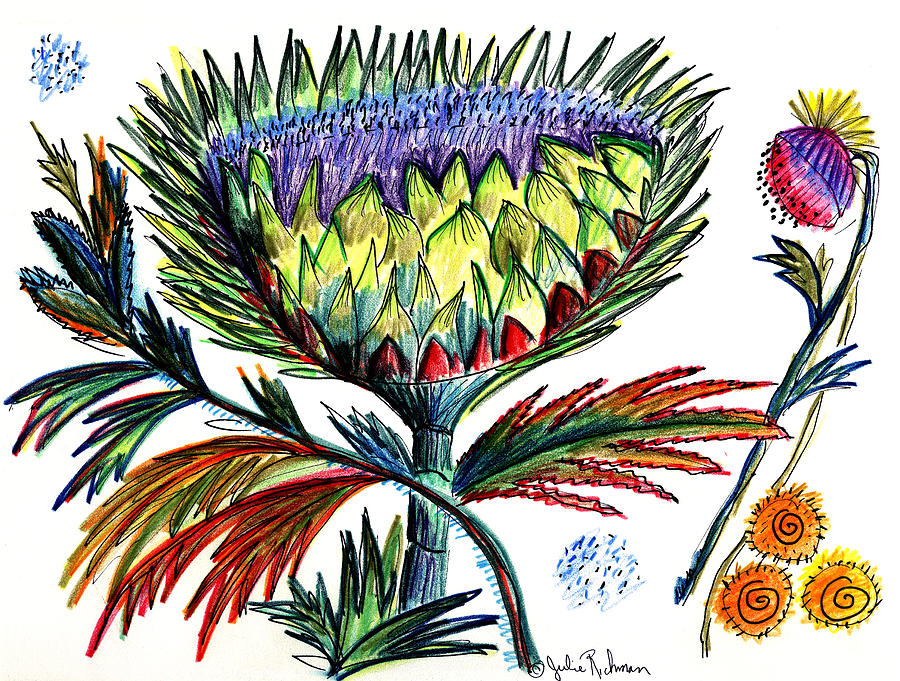 Flowers Painting - A Thistle by Julie Richman