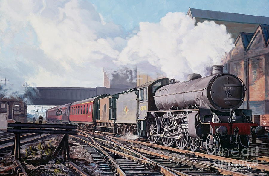 Train Painting - A thompson B1 Class Moving Empty Stock On A Cold February Morning by David Nolan