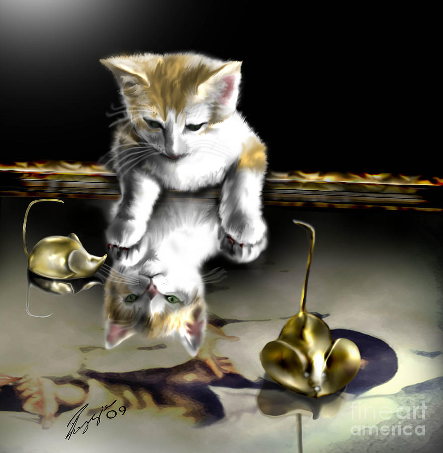 Cat Painting - A Time For Peace by Reggie Duffie