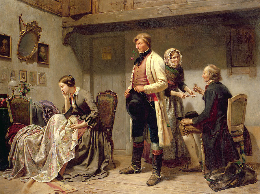 A Toast To The Engaged Couple Painting By Carl Wilhelm Huebner