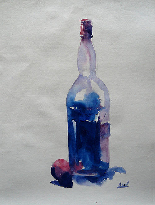Water Colour Painting - A Tomato And A Bottle by Abin Raj