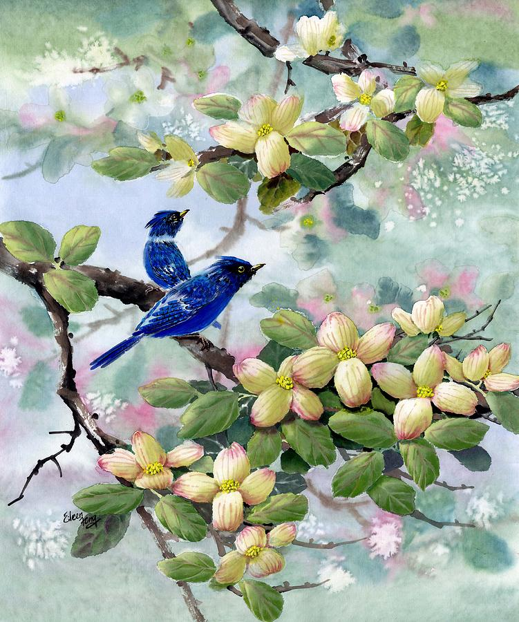Blue Jays Painting - A Touch Of Pink On White by Eileen  Fong