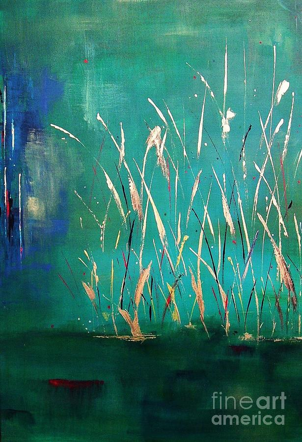 Abstract Landscape Painting - A Touch Of Teal by Frances Marino