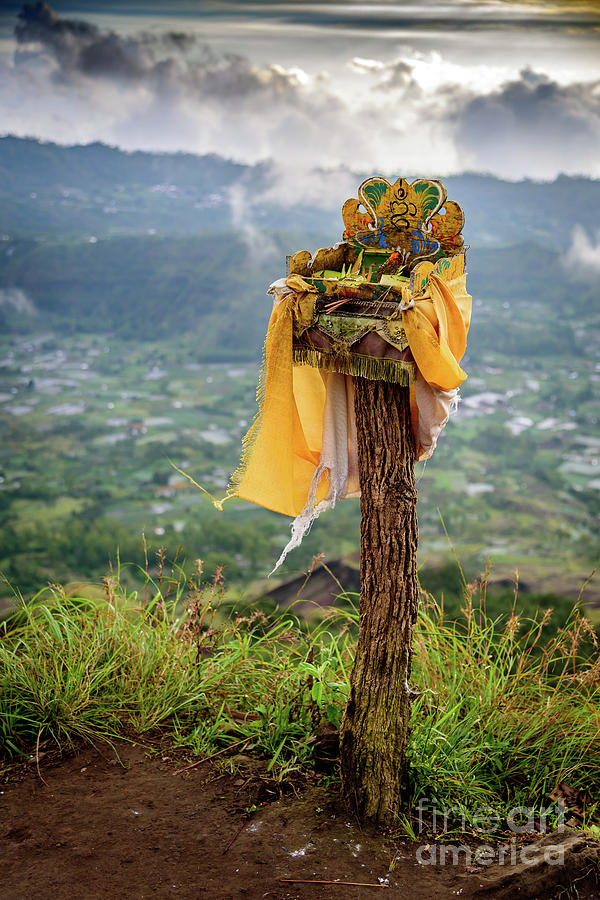A Traditional Balinese Offering on Top of The Caldera At Mount Batur Volcano In Bali by Global Light Photography - Nicole Leffer