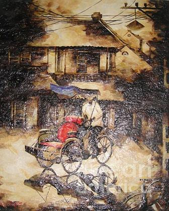A Traditonal Conner Of Ha Noi Painting by Le Dac Trung