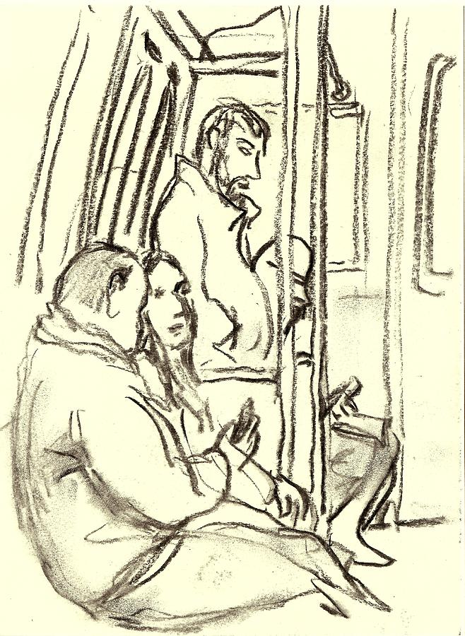 A Train Composition, Nyc Drawing by Thor Wickstrom
