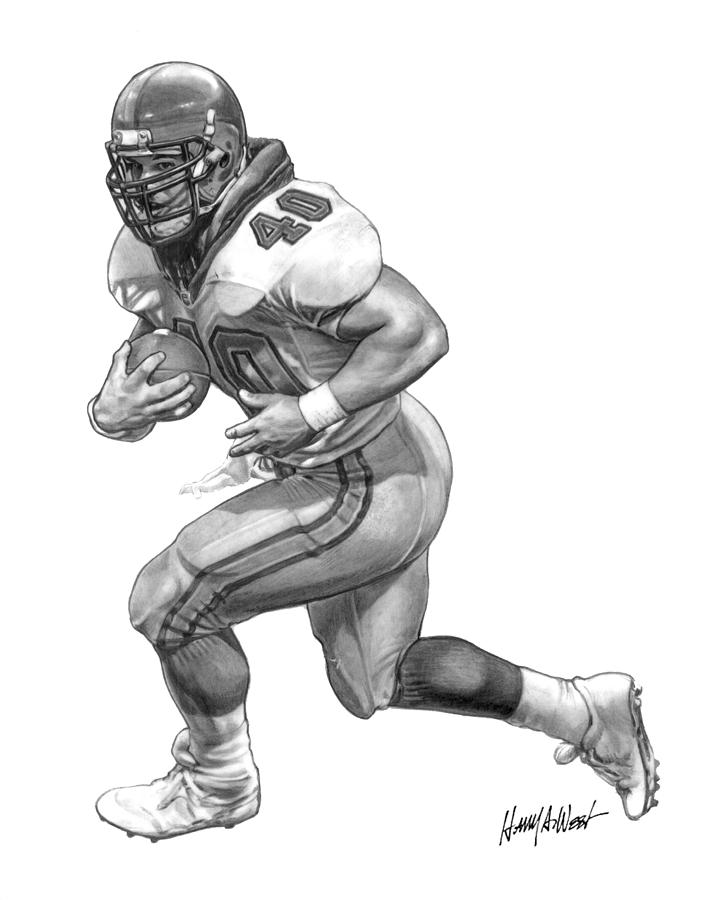 Mike Alstott Drawing - A-train by Harry West