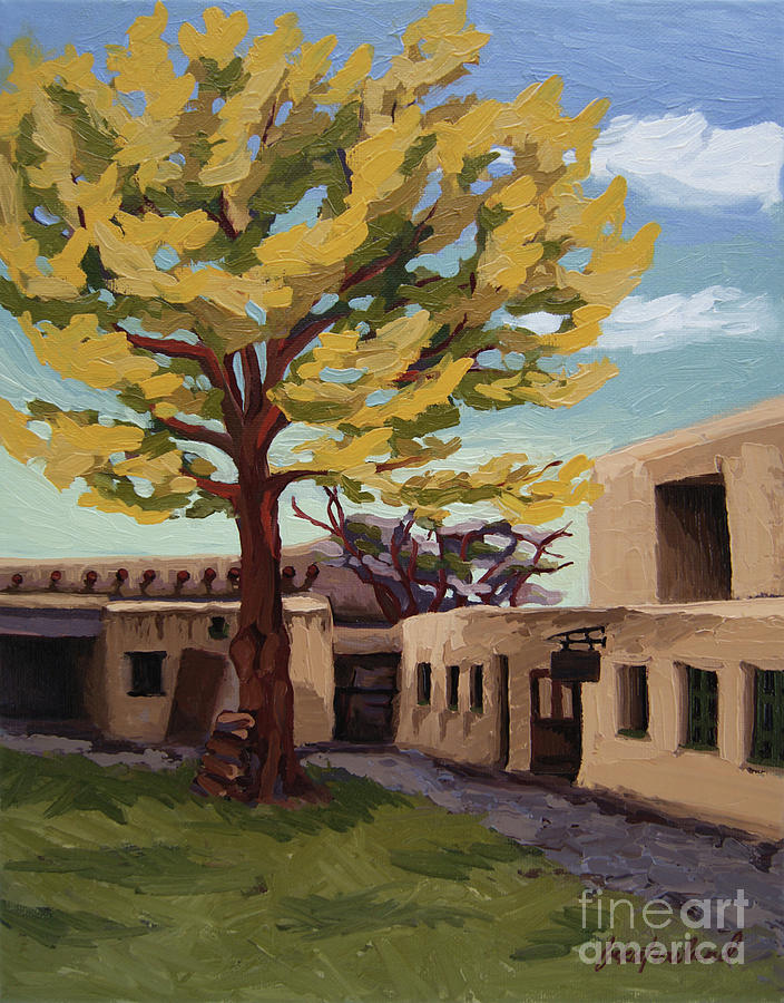 Santa Fe Painting - A Tree Grows In The Courtyard, Palace Of The Governors, Santa Fe, Nm by Erin Fickert-Rowland