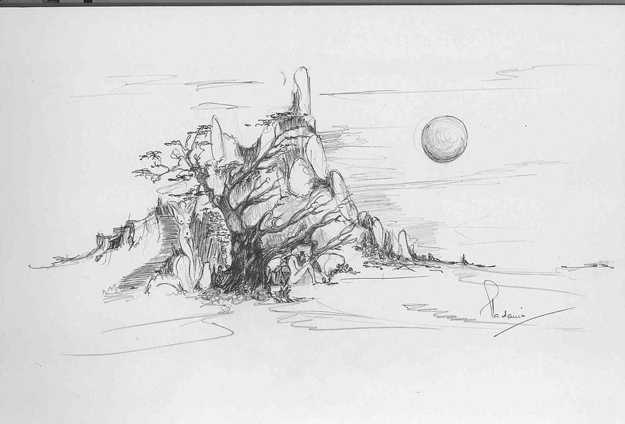 Nature Drawing - A Tree Rocks And The Sun by Padamvir Singh