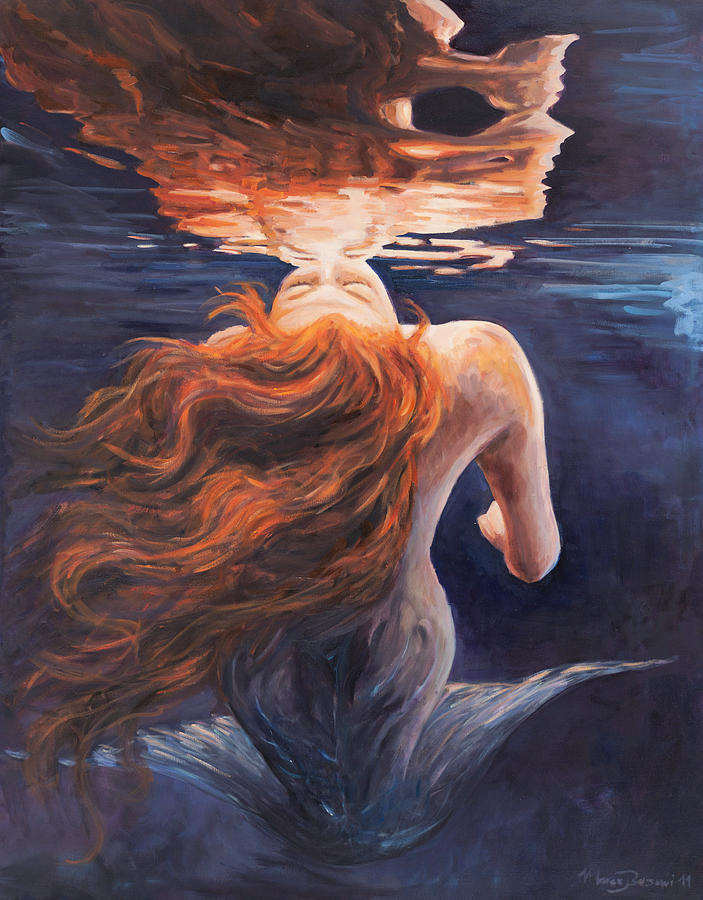 Mermaid Painting - A trick of the light - love is illusion by Marco Busoni