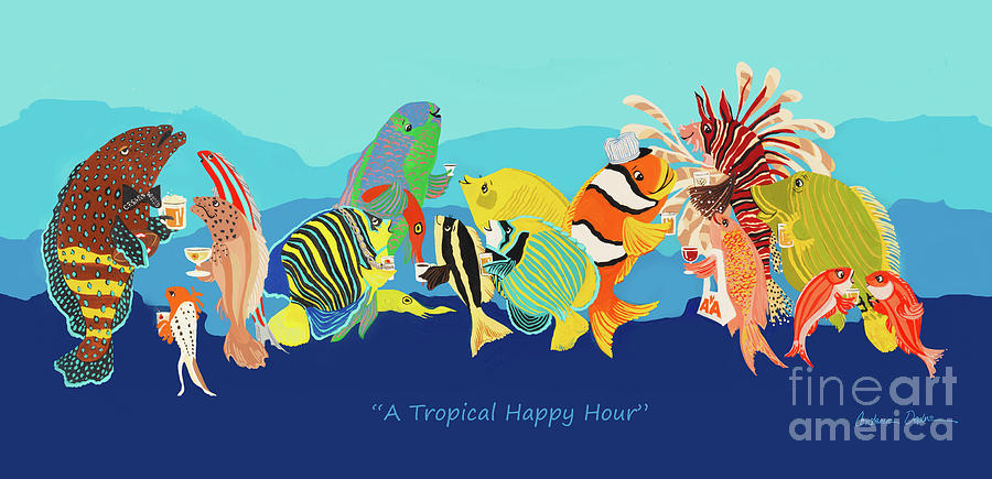 Tropical Fish Painting - A Tropical Happy Hour by Constance Depler