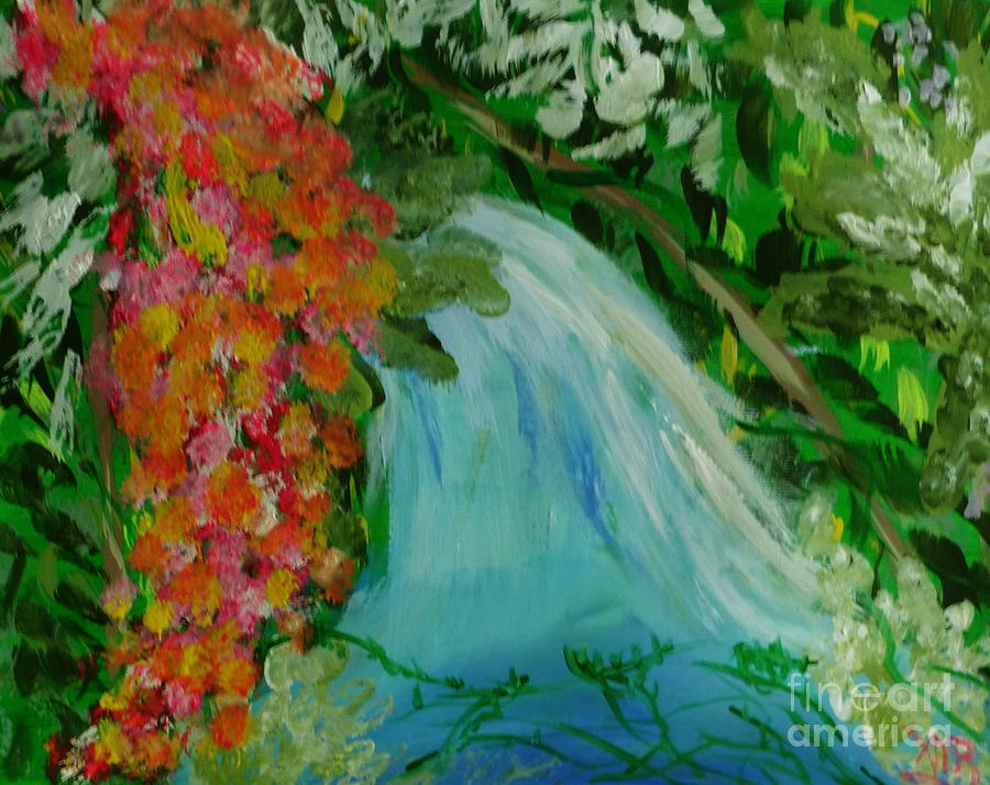 Landscape Painting - A Tropical Waterfall by Marie Bulger