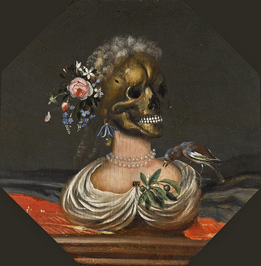 Canvas Prints Painting - A Vanitas Bust Of A Lady With A Crown Of Flowers On A Ledge by Catharina Ykens