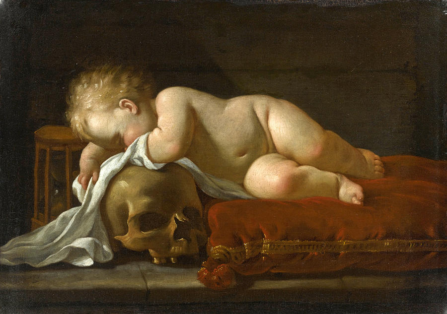 https://images.fineartamerica.com/images/artworkimages/mediumlarge/1/a-vanitas-scene-with-a-sleeping-child-on-a-red-velvet-cushion-an-egg-timer-and-a-skull-luigi-miradori.jpg