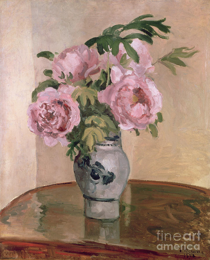Table Painting - A Vase Of Peonies by Camille Pissarro