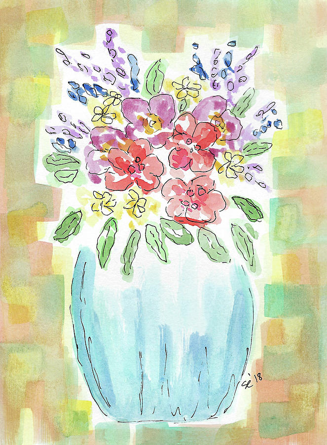 A Vase Of Pretty Flowers Painting By Susan Campbell