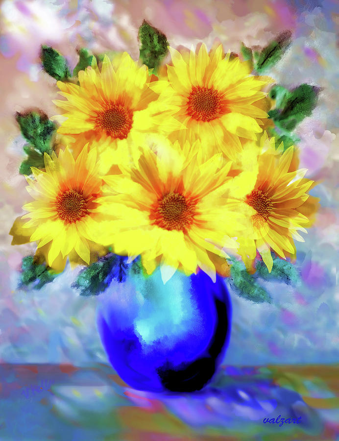 A vase of Sunflowers by Valerie Anne Kelly