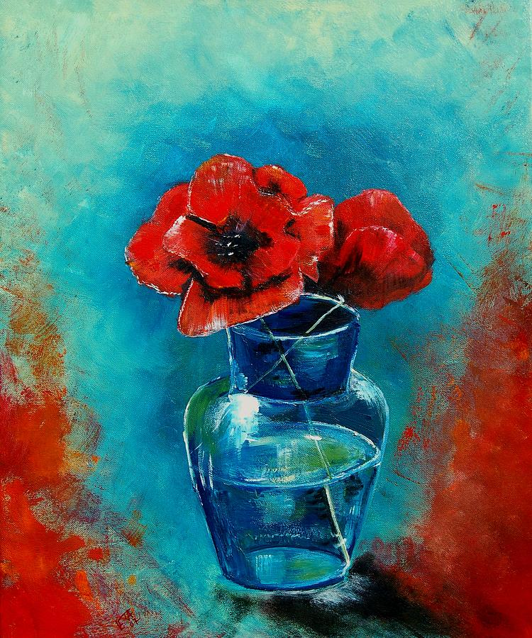 Flowers Painting - A Vase With Poppies  by Veronique Radelet