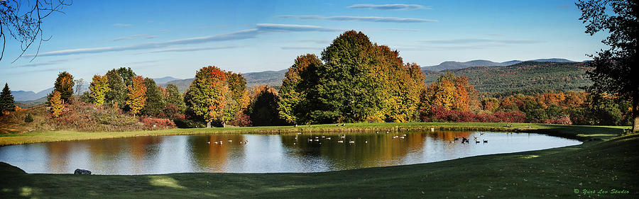 Vermont Photograph - Panorama Of A Vermont Pond In October by Yuri Lev
