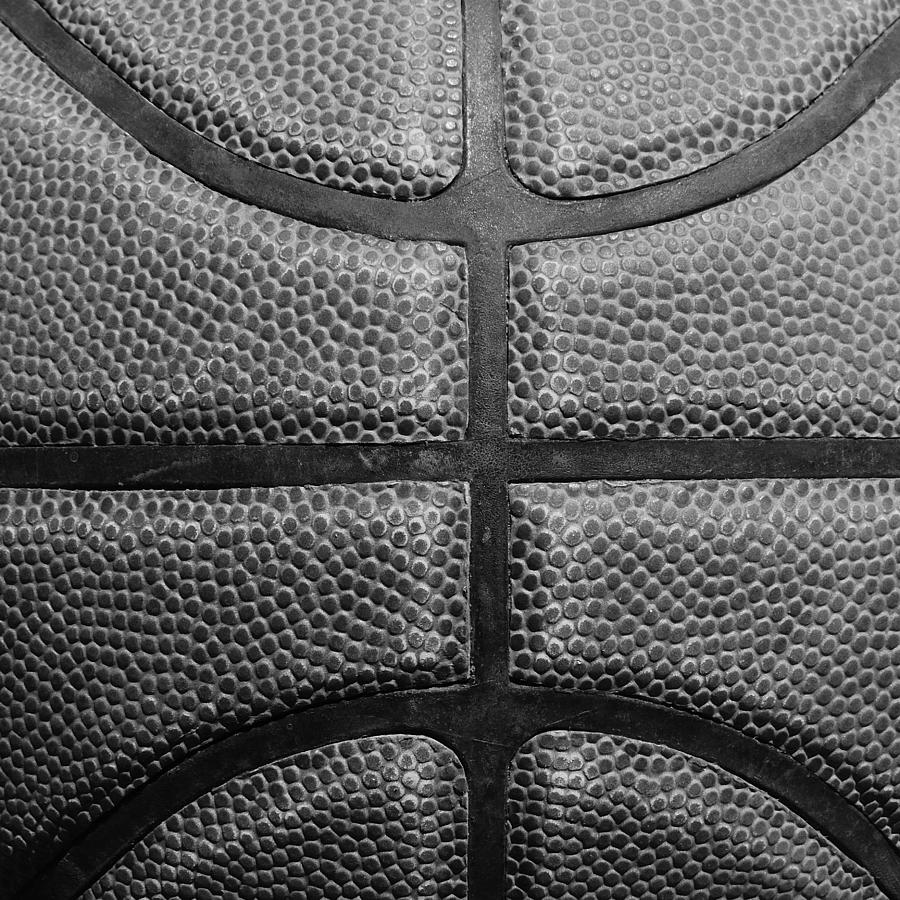 A very closeup view of a basketball