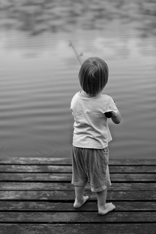 Kid Photograph - A Very First Fishing by Deividas Kavoliunas