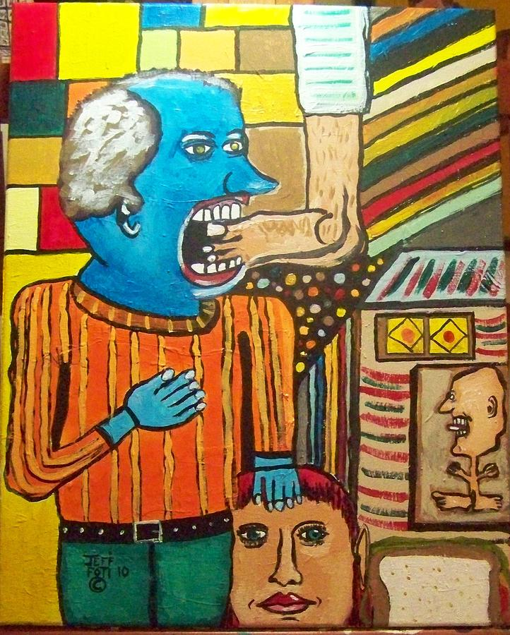 A Very Hungry Blue Man Painting by Jeffrey Foti