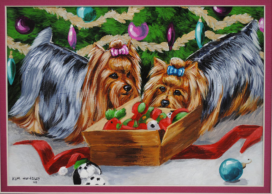 A Very Yorkie Christmas Painting by Kimberly Hundley