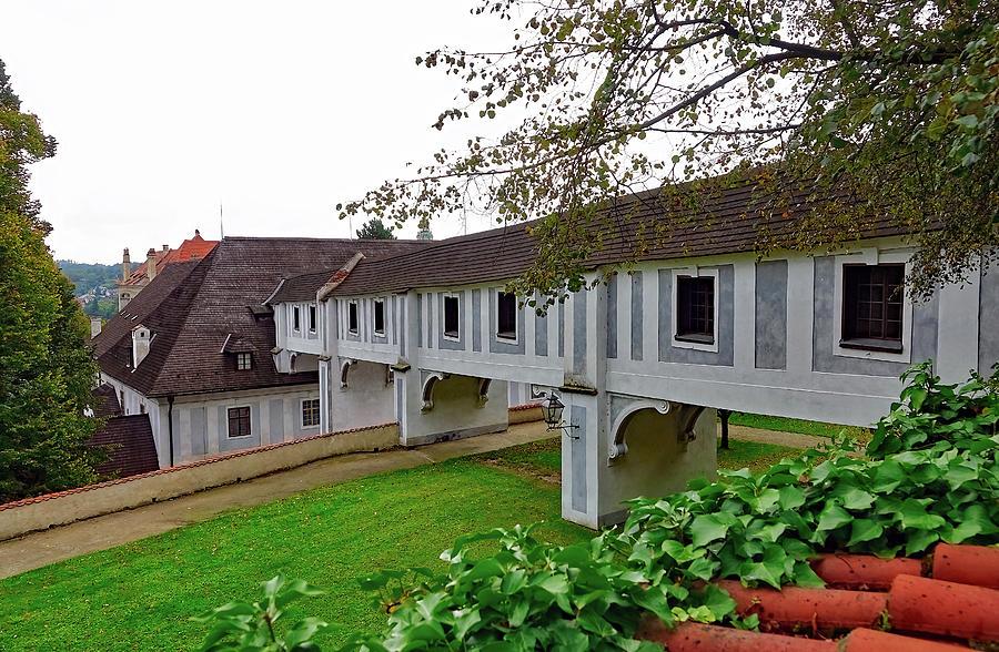 Cesky Krumlov Photograph - A View From The Cesky Krumlov Castle Gardens At Cesky Krumlov, Czech Republic by Richard Rosenshein