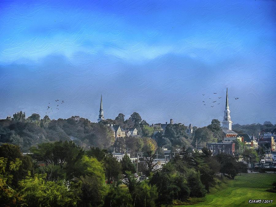 Bangor Digital Art - A View Of Bangor by Ken Morris