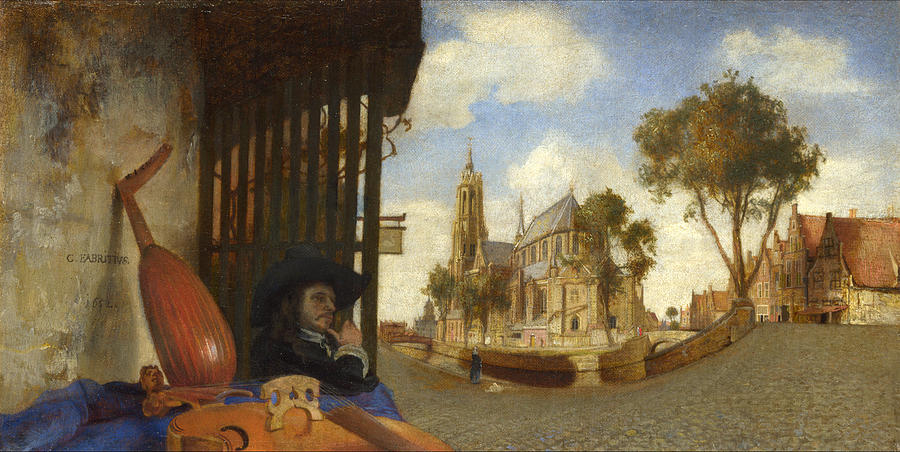 Carel Fabritius Painting - A View Of Delft With A Musical Instrument Sellers Stall by Carel Fabritius