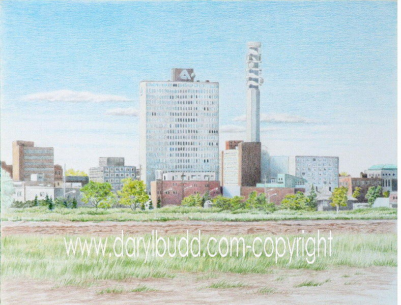 City Drawing - A View Of Moncton by Daryl Budd