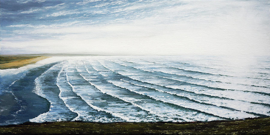 United Kingdom Painting - A View Of Saunton Beach And Waves by Mark Woollacott