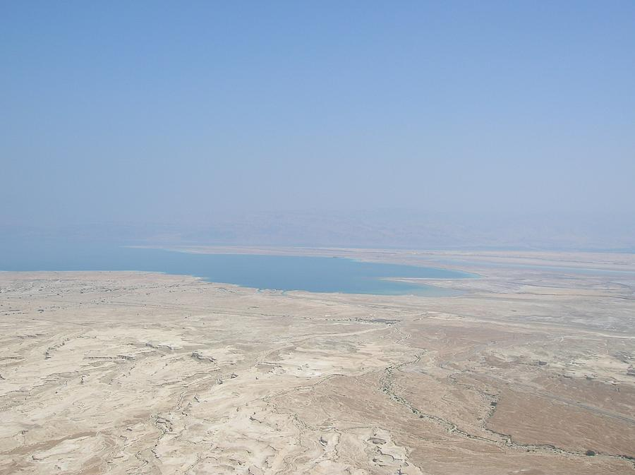 Israel Photograph - A View Of The Dead Sea From Masada by Susan Heller
