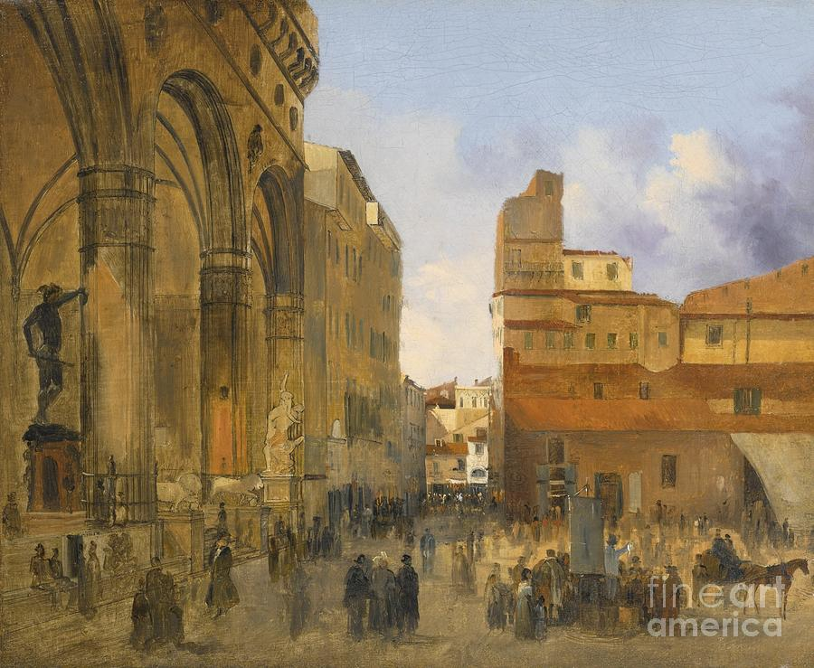 Florence Painting - A View Of The Piazza Della Signoria by Celestial Images